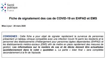 Fiche de signalement des cas de COVID-19 en EHPAD et EMS