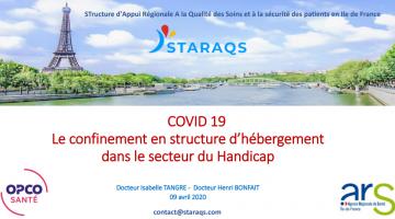 COVID 19 Le confinement en structure d'hébergement dans le secteur du Handicap